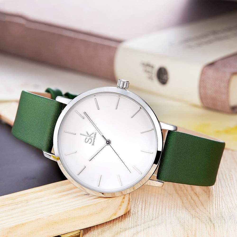 SSQ-CXO Orologio al quarzo da donna, moda personalità minerale temperato vetro specchio movimento al quarzo cinturino in lega rotonda quadrante orologio impermeabile in pelle green