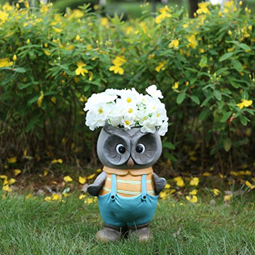 garden-gnomes-statues-and-fairy-head-planters-14-inch-tall-blue-owl-flower-pots-outdoor-holiday-deco