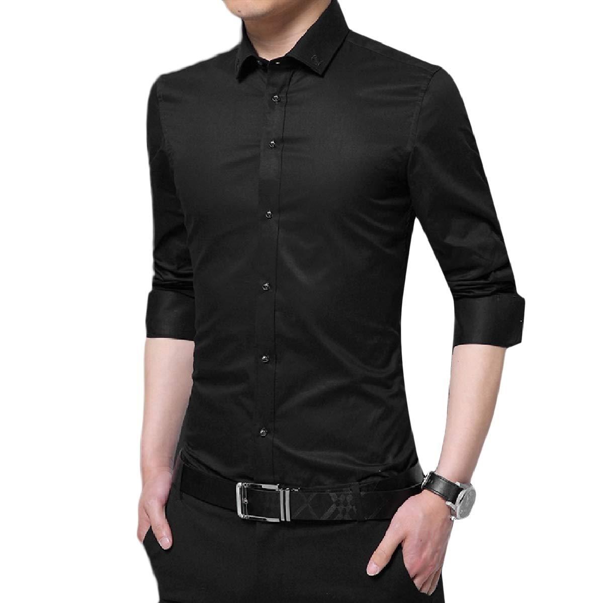 Mfasica Men Non-Iron Regular Solid Slim Fit Cheap Long Sleeve Shirts