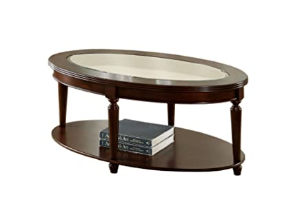 Amazoncom Furniture Of America Claire Oval Glass Top Coffee Table