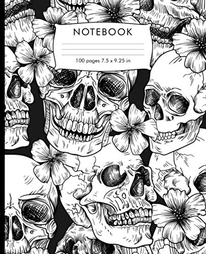 Halloween Writing Activities For Elementary Students (Notebook: Skeleton flower sugar skull pattern  Composition Notebook. 100 pages Wide Ruled Book 7.5 x 9.25 in journal for elementary students, teachers, girls, boys, kids, college)