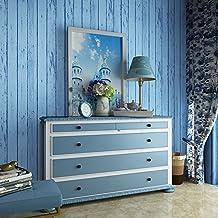 "3D The Mediterranean Blue Wallpaper Wood Grain Living room Background Wallcoverings 20.8"" x 393.7"""