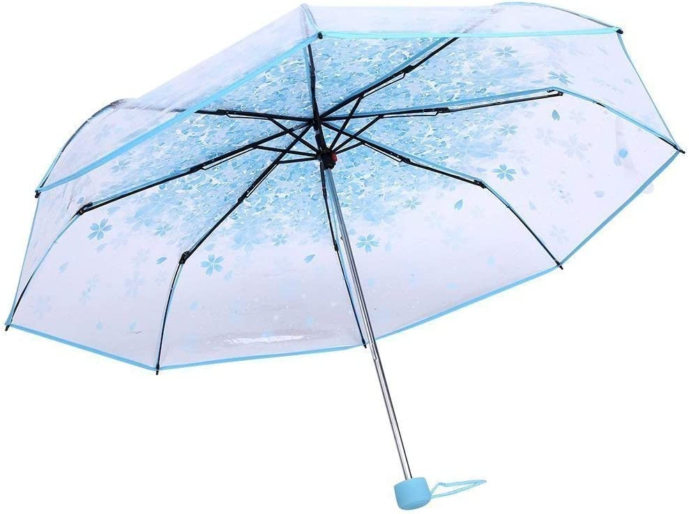 Bleu Milopon Parapluie de Poche Semi-Automatique pour Femme et Fille Motif Fleurs de Cerisier Transparent 90 cm