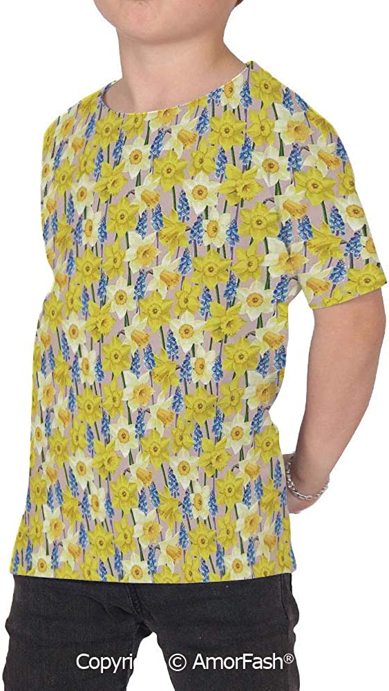 PUTIEN Daffodil Decor Lovely Printed T-Shirts,Crew Neck T-Shirt of Girls,Polyester,Flor