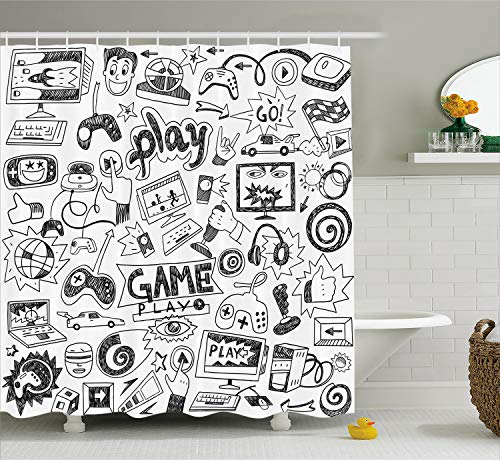 Ambesonne Video Games Shower Curtain, Monochrome Sketch Style Gaming Design Racing Monitor Device Gadget Teen 90's, Cloth Fabric Bathroom Decor Set with Hooks, 70