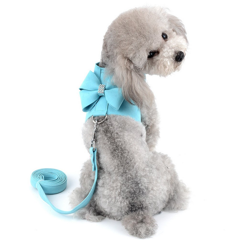 SELMAI Small Pet Dog Cat Bling Rhinestone Harness and Leash Set Bowknot Soft Ultra Suede Leather, Adjustable/No Pull Blue S
