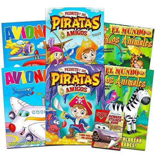 Spanish Pirates, Zoo Animals, and Airplanes 6-Piece Coloring Book Set with Bonus Disney Cars Stickers ~ Libros para Colorear de 6-piezas Piratas, Animales y Aviones con Bonificaciones de Calcomanías