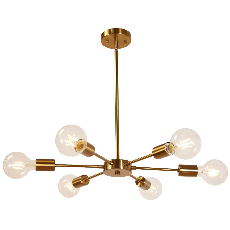 MELUCEE Modern Sputnik Chandelier 6 Lights Brass Chandelier Semi Flush Mount Ceiling Light Mid Century Pendant Light for Bedroom Foyer Dining Room Restaurant UL Listed