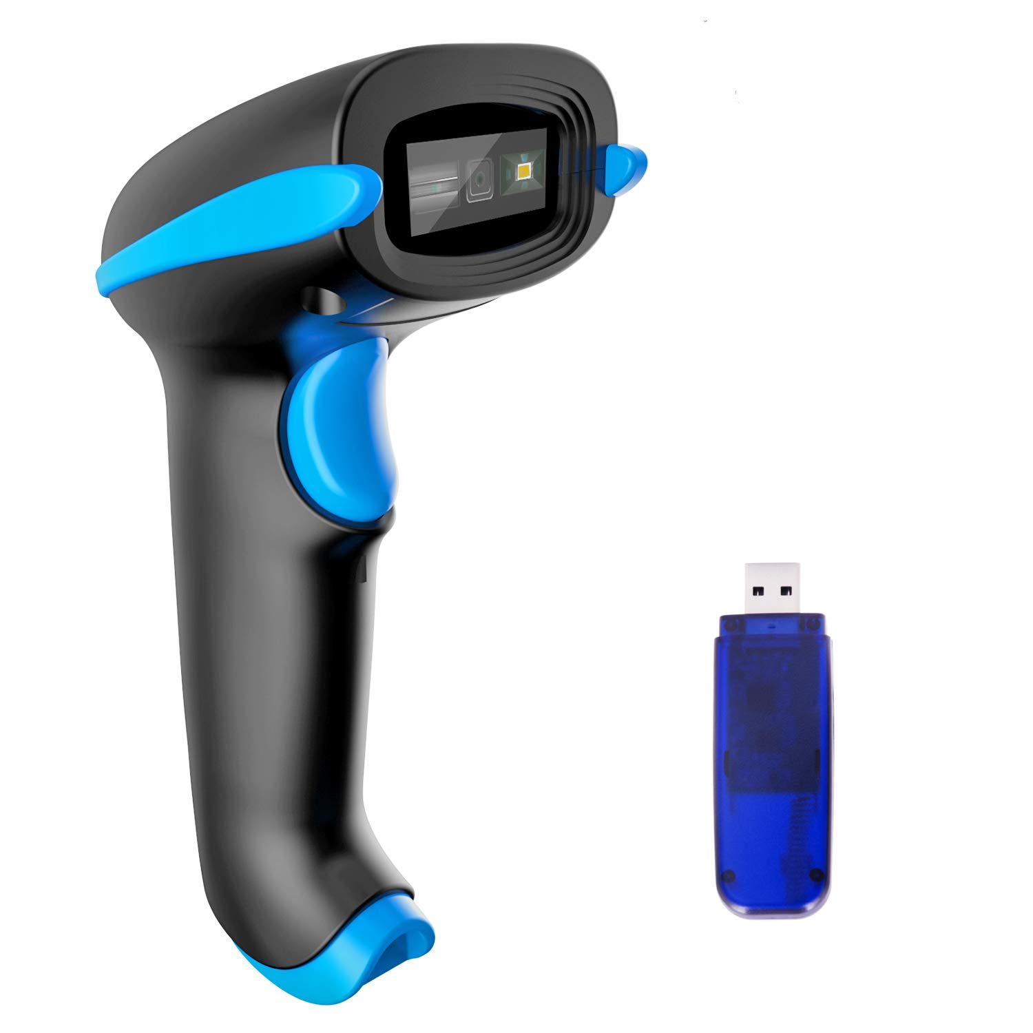 NADAMOO 2D Wireless Barcode Scanner (2-in-1 Wireless & USB2.0 Wired) 1D QR PDF417 Data Matrix Bar Code Scanner Cordless CMOS Image Barcode Reader for Mobile Payment Computer Screen