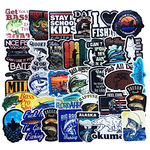 Honch Vinyl Bass Fishing Stickers 50 Pcs Pack Blue Stickers Fly Fishing Decals for Laptop Ipad Car Luggage Water Bottle Helmet Truck