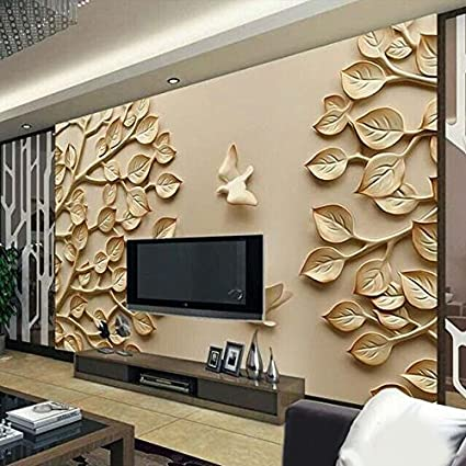 Kayra Decor Golden Leaf 3D Wallpaper Available In All Size For Living Room,  Bed Rooms