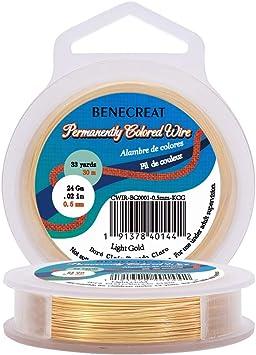 Imagen deBENECREAT 30m 0.5mm Alambre de Cobre (Oro Claro) Cable Metálico Accesorios de manualidad para Diseño de Bisutería