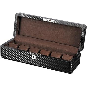 Reloj Caja de almacenamiento para hombres o mujeres Cuero de fibra de carbono 6 Relojes Tragamonedas con almohada suave Muñeca Relojes de pulsera grandes ...