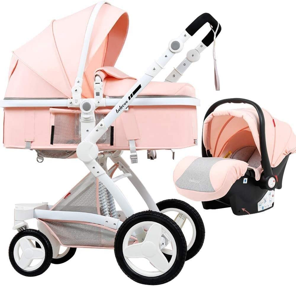 TZZ 幼児の少年少女のための5ポイント安全システムとの1ベビーカーPU高い景観ベビーカーで3 (色 : Pink)