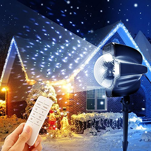 ranipobo Snowfall LED Light Projector Christmas Party Indoor Outdoor Lights Remote Control Timing Spot Snowflake Lighting Waterproof Spotlights for Landscape Halloween Holiday