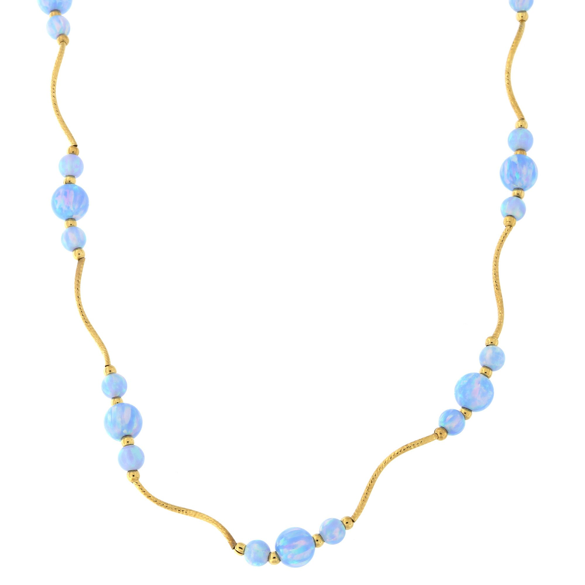 Beauniq 14k Yellow Gold Diamond Cut Graduated Simulated Light Blue Opal Station Necklace, 17 inches