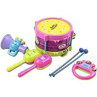 Flyme 5pcs Kids Baby Rock Music Instrument Toys Set,Roll Drum,Hand Bell,Loudspeaker,2 Maracas