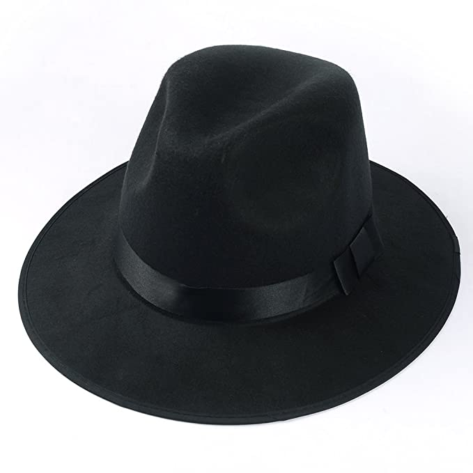 Medium Vintage Style Men s Hard Felt Wide Brim Fedora Trilby Panama Hat  (Black) 45bcd38d6b0