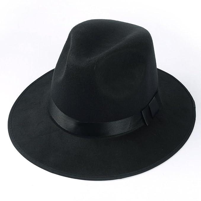 860abd99722 Medium Vintage Style Men s Hard Felt Wide Brim Fedora Trilby Panama Hat  (Black)