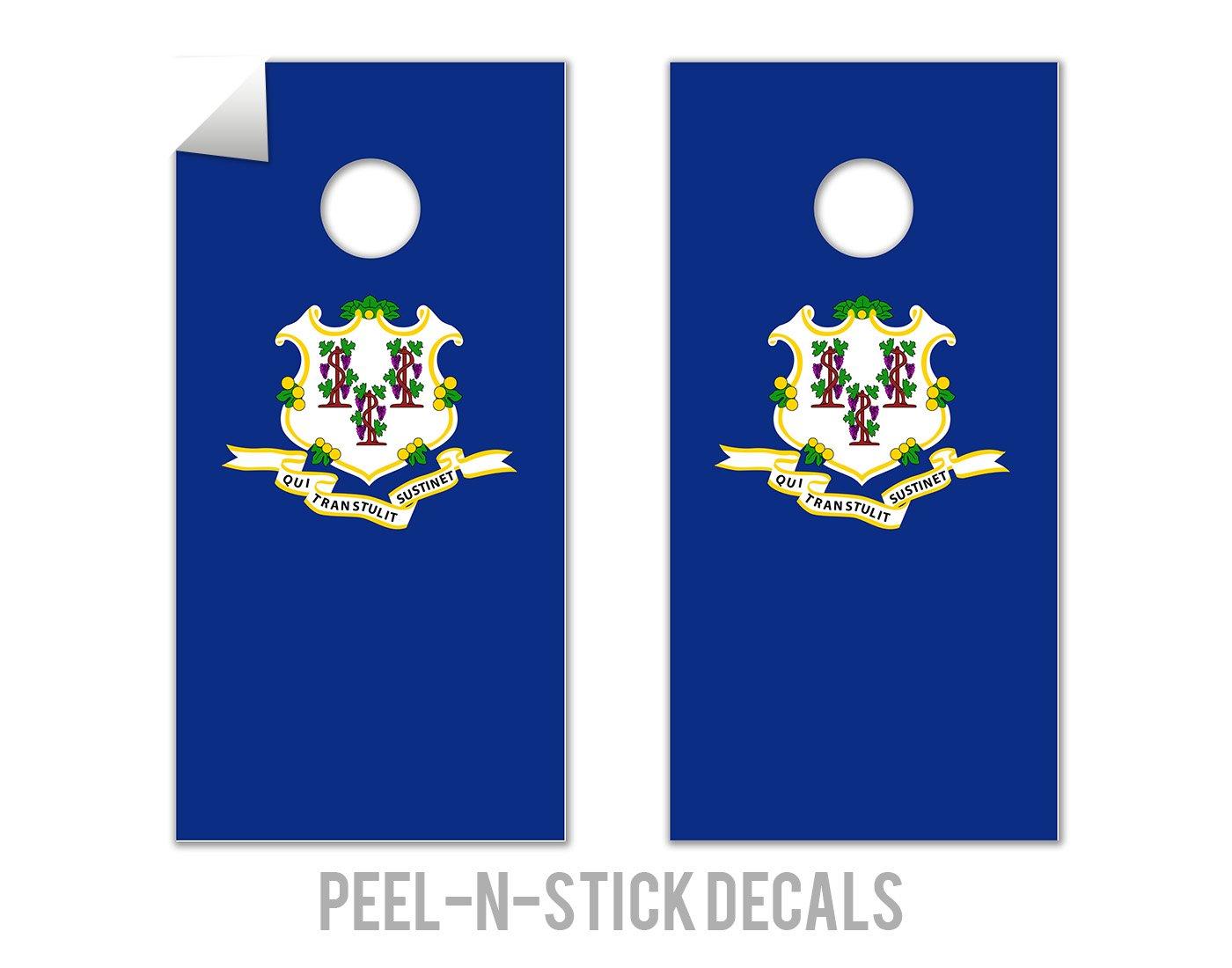 Connecticut State Flag - Cornhole Crew - ACA Regulation Size Cornhole Board Decals