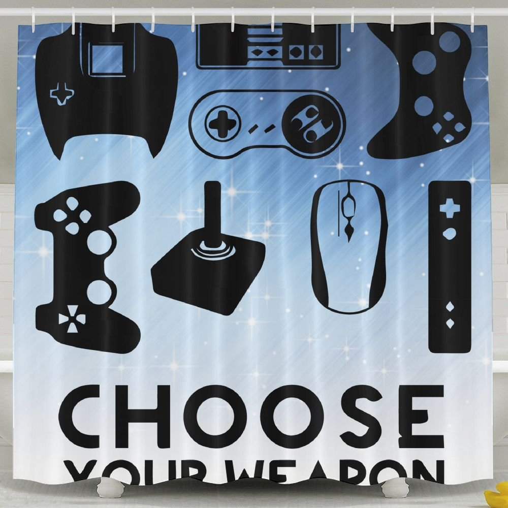 XsWu Choose Your Weapon Gamer Shirt Video Game Shower Curtain Bath Curtain With Hooks 60x72