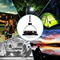 Zider Solar Camping Light Outdoor Hanging Lamp Lanterns Supporting USB Charging Phone DC Charging 12LED 3 Mode Power Palm size Black ABS