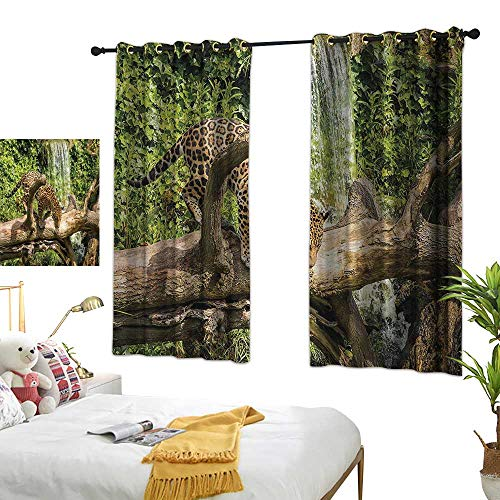 Warm Family Thermal Insulated Drapes for Kitchen/Bedroom Safari Decor Collection Jaguar Cat on a Tree Trunk Waterfall Endangered Species Wild Life Fast Animal Image Noise Reducing 55
