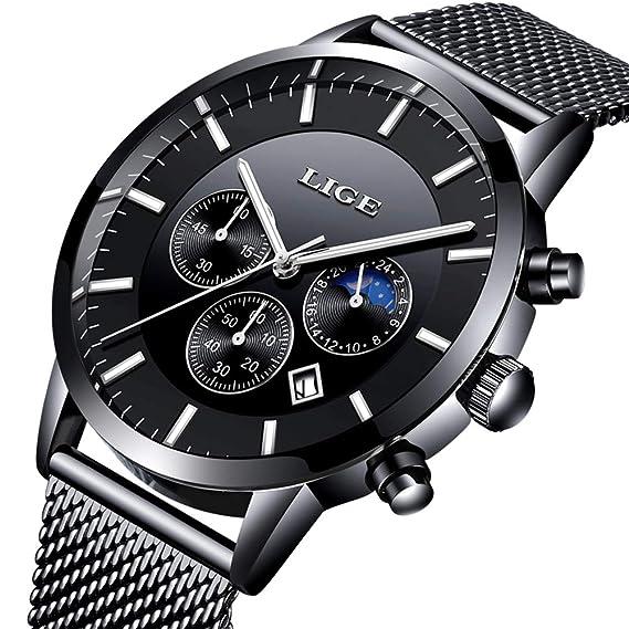 LIGE Relojes Hombre Moda Impermeable Analógico Cuarzo Reloje Negro Acero Inoxidable Malla …