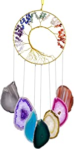 mookaitedecor 7 Chakra Crystal Tree of Life with Agate Slices Wind Chimes, Wall Hanging Ornaments Window Home Decor 25-27 Inch
