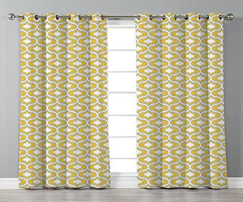 Oval Natural Narrow Shaped (Satin Grommet Window Curtains,Ikat,Oval Shaped Design Vivid Color Ogee Motif Indonesian Culture Inspired Pattern Decorative,Yellow Grey White,2 Panel Set Window Drapes,for Living Room Bedroom Kitchen)