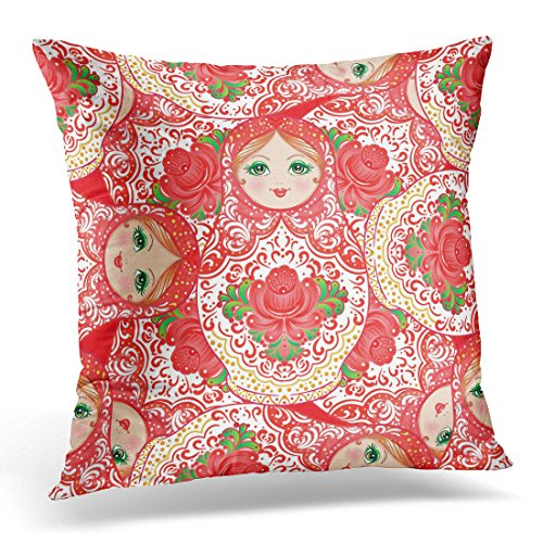 UPOOS Throw Pillow Cover Babushka Matryoshka Traditional Russian Wooden Nesting Doll with Flowers Folk Arts and Crafts in Cartoon Decorative Pillow Case Home Decor Square 20x20 Inches Pillowcase