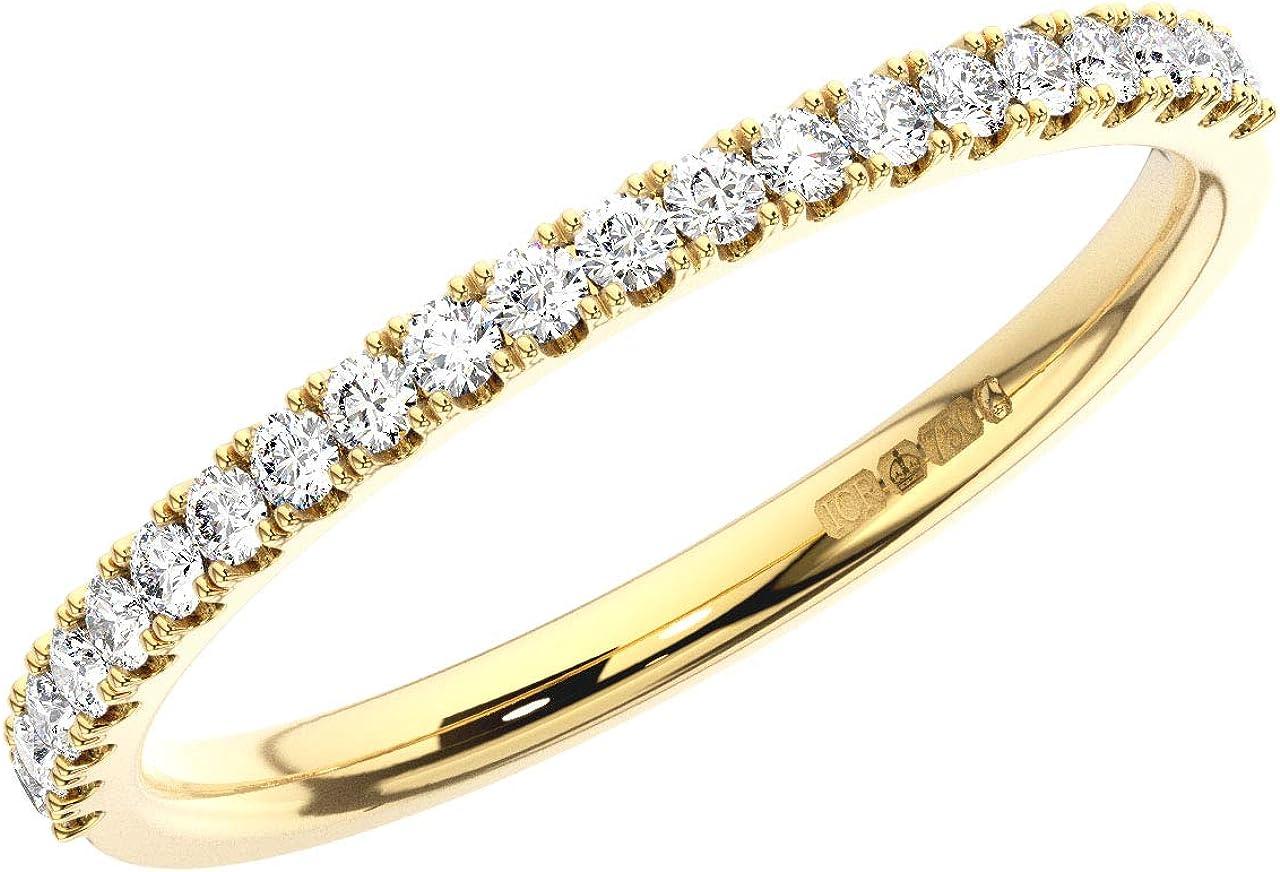 0.35Carat Channel Set Princess Cut Diamonds Half Eternity Ring In 9K Yellow Gold