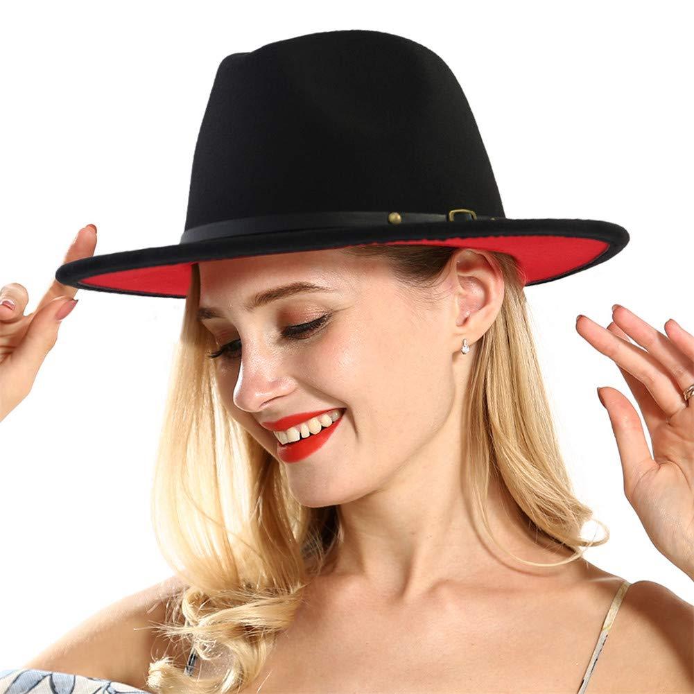 7a601494a367 ... Vim Tree Womens Classic Wide Brim Fedora Hat with Belt Buckle Felt  Panama Hat VIM0183- ...