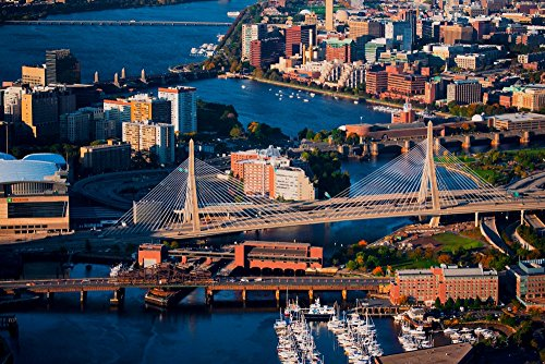 AERIAL of Boston Harbor area focusing on Leonard P Zakim Bunker Hill Memorial Bridge Boston MA Poster Print by Panoramic Images (24 x 18)