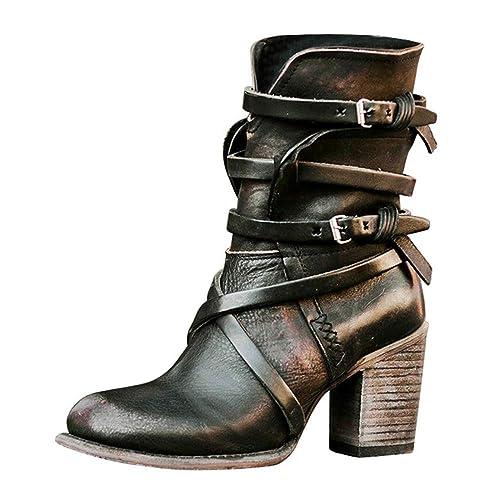 Vertvie Damen Stiefeletten mit Blockabsatz Schlupfstiefel Flandell Warm Gefüttert Schuhe Übergrößen Worker Biker Boots