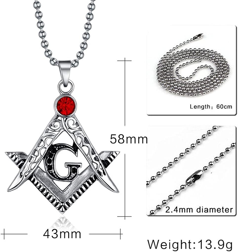 MoAndy Necklace Fashion Jewelry Stainless Steel Necklace Men Pendant Necklace Masonic Silver