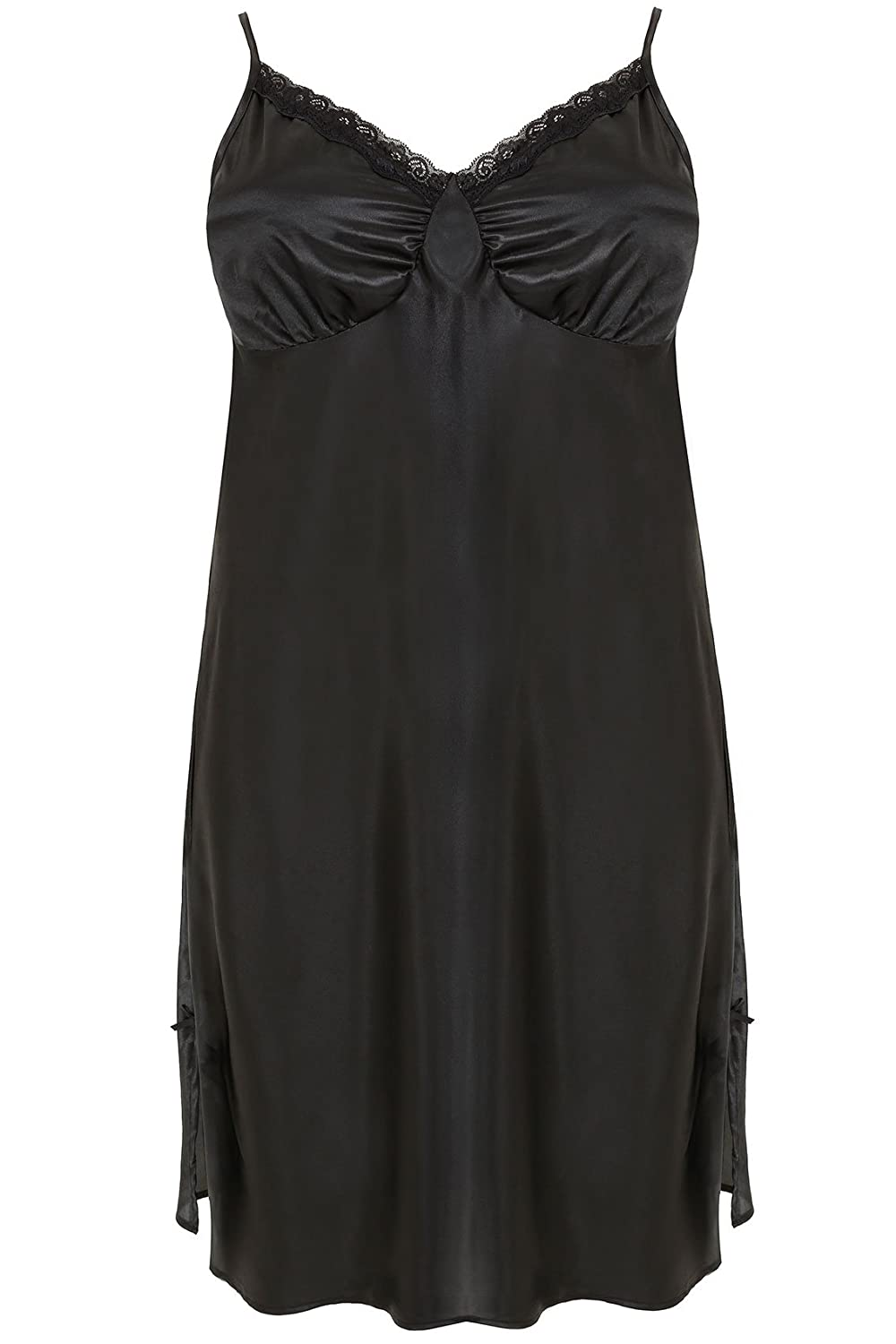 Yoursclothing Plus Size Womens Satin Midi Chemise With Lace Trim