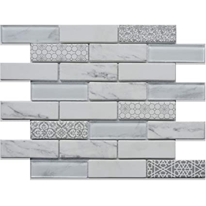 Beau Silver Polish Glass Mosaic Wall Tile Modern Simple Mosaic Tiles With Unique  Pattern For Kitchen Backplashes Bathroom     Amazon.com