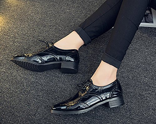 Oxfords Pointed Dress Lace Low Black Up Platform Aisun Toe Heels Shoes Chunky Women's Vintage EUzqwFxP