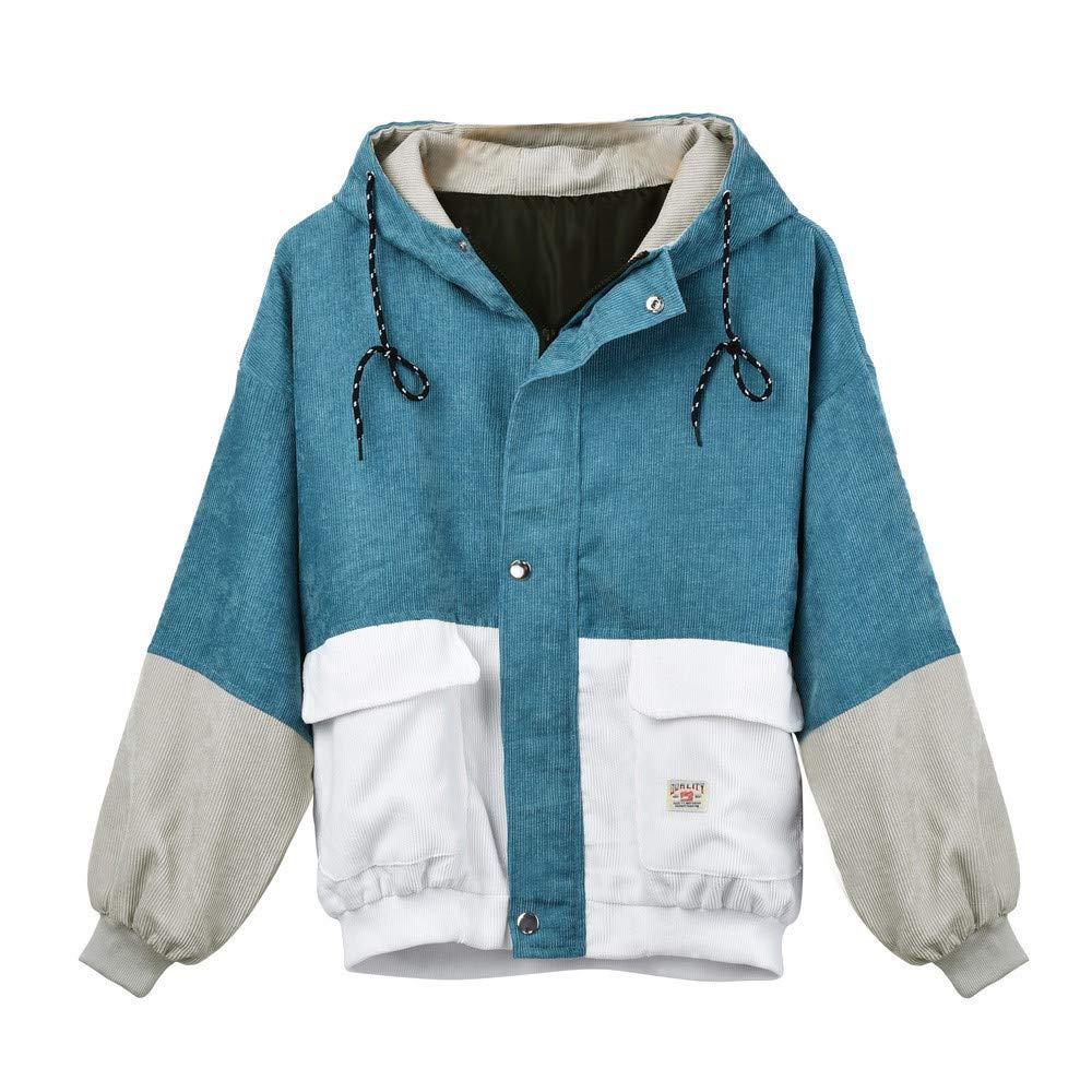 HAALIFE ◕‿ Womens Vintage Long Sleeve Hoodie Corduroy Patchwork Pockets Jacket Oversized Hooded Windbreaker Coat Blue by HAALIFE Women's Clothing