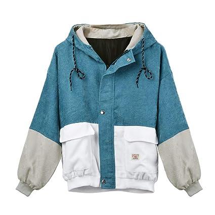 Gergeos Women Corduroy Patchwork Oversize Zipper Jacket Windbreaker Long Sleeve Coat at Amazon Womens Clothing store: