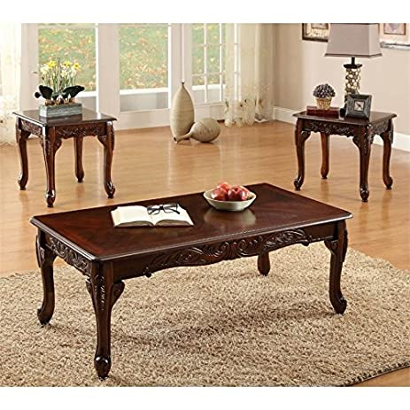 Charmant Furniture Of America Alice 3 Piece Coffee Table Set In Dark Cherry