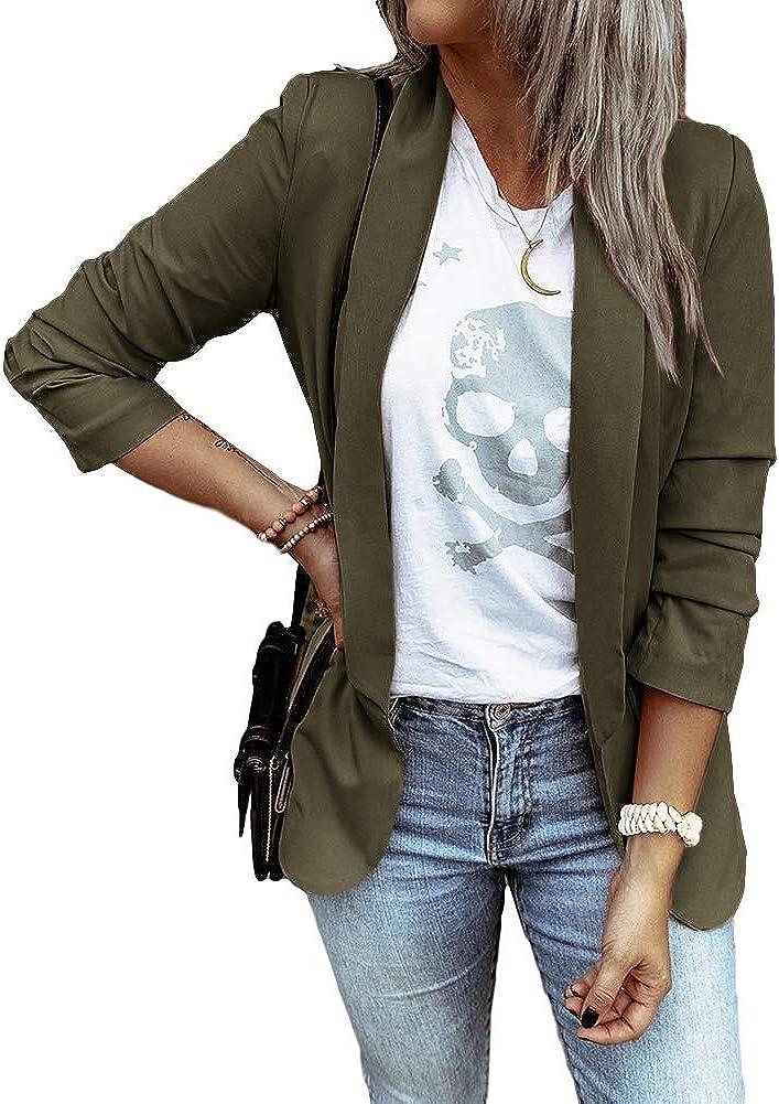MaQiYa Womens Blazer Casual Jacket Long Sleeve Open Front