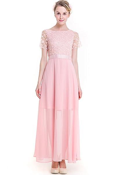 8a20636608bc KAXIDY Donna Elegante Vestito da Sera Lungo Abbigliamento Vestiti Eleganti  Ragazza Abito Lungo Vestito Rosa (