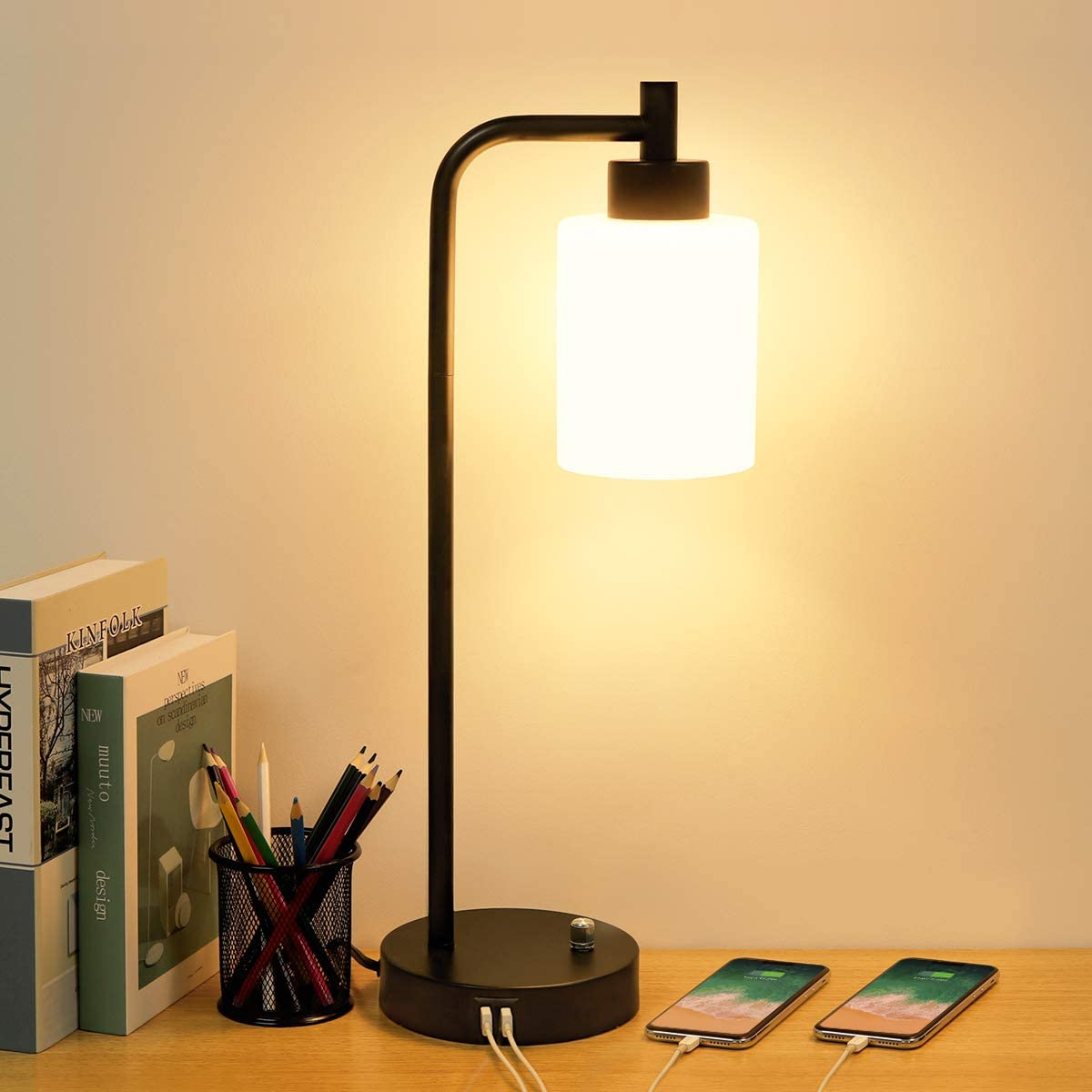 Boncoo Industrial USB Table Lamp Stepless Dimmable Bedside Desk Lamp with 2 USB Charging Ports Vintage Nightstand Lamps Opal Glass Shade Simple Reading Lamp for Living Room Office 6W LED Bulb Included
