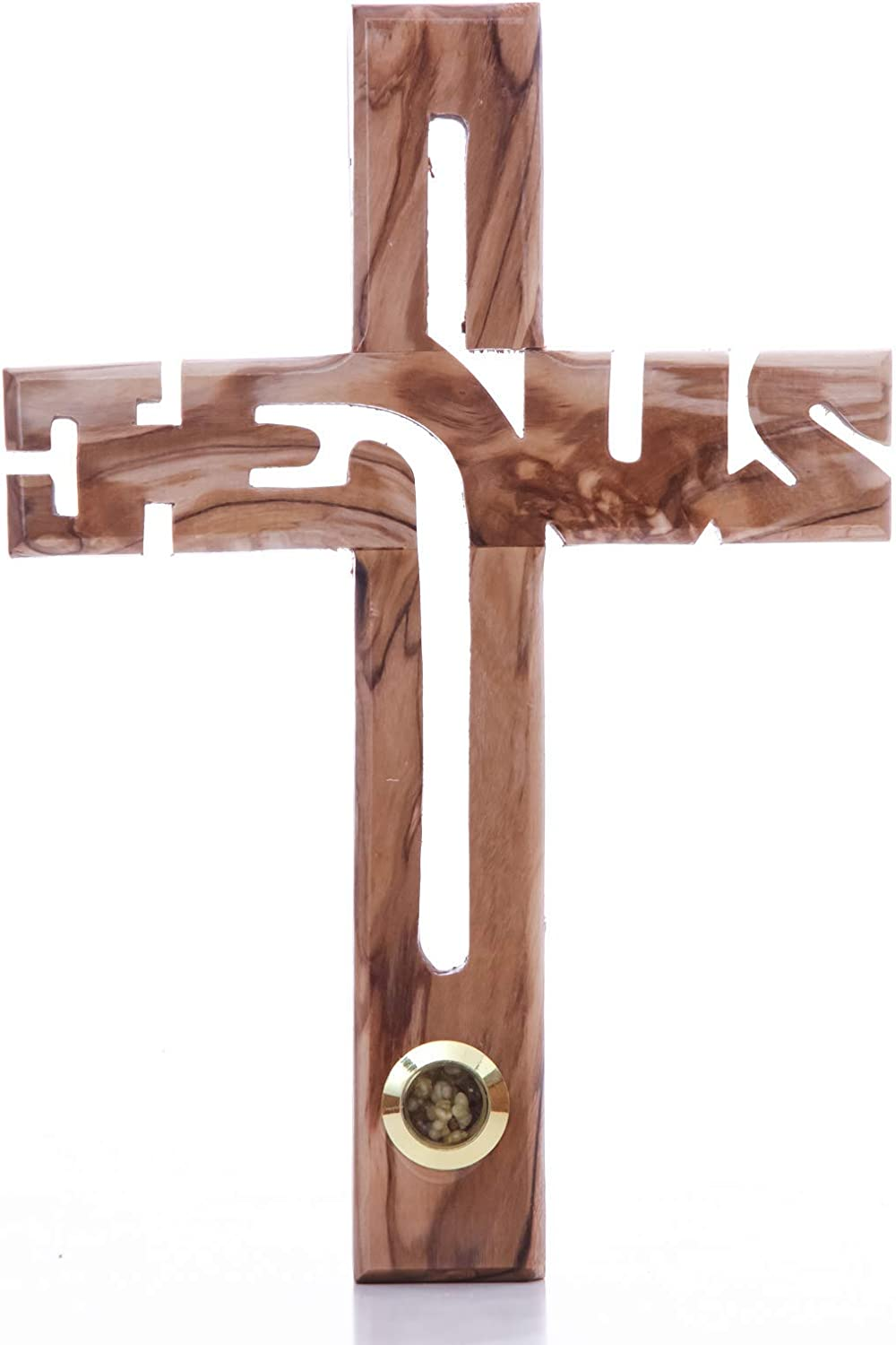 Zuluf Jesus Cross for The Wall for Home, Office or Kids Room | Wooden Cross Decor Christian Handmade Jesus Olive Wood Wall Cross with Soil Bethlehem with Holy Land Certificate | 7.8