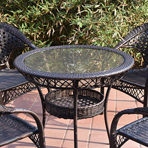 Joveco Rattan Wicker Outdoor Backyard Bistro Dining Table with Glass Top (Rattan Bistro Table)