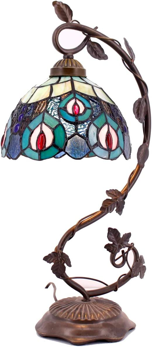 Tiffany Lamps Stained Glass Table Desk Reading Lamp Crystal Bead Sea Blue Peacock Style Shade W8H22 Inch for Living Room Bedroom Bookcase Dresser Coffee Table S666 WERFACTORY