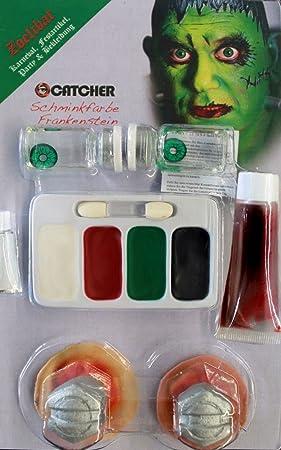 zoelibat 97259841.043 - Makeup Set Frankenstein con lentes de contacto, de sangre, maquillaje, 2 látex Tornillos, adhesivo: Amazon.es: Juguetes y juegos