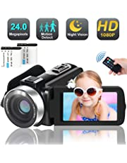 Camcorder Video Camera, FAERSI Full HD 1080P 30FPS 24MP IR Night Vision Digital Camcorders, 16X Digital Zoom 3.0 Inch LCD 270 Degree Rotation Screen YouTube and Webcam Recorder(2 Batteries)